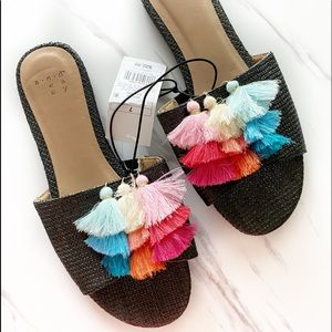 A New Day Colorful Tassel Sandals NEW